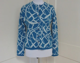 Vintage sweater, Sweatshirt, Tumblr sweaters, Indie sweaters, Oversize sweaters, Blue Wool Print Cardigan Sweater