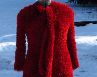 Handknit, Faux Fur Elegance, Womens Ruby Red, Knit Jacket, Size 2-4