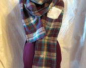 Repurposed flannel scarf - Shoulder Shirt with pocket - plaid, burgundy, cream, teal, long