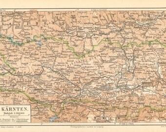 1896 Original Antique Dated Map of Carinthia, Austria