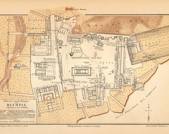 1890 Original Antique Map of the Ancient Olympia with the Temple of Zeus