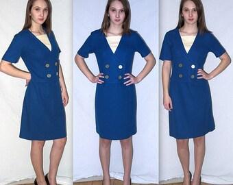 Suzy Q .... vintage 60s mod day dress / 1960s Bobbie Brooks schoolgirl midi / mad men office / nautical scooter vespa ...  S M / bust 36