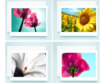 Flower Power, SET OF 4, note cards, home decor, sunflower, tulip, datura, Spring, Summer, Magenta,Mint,Teal,Turquoise,White,Yellow