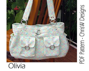 Bag Sewing Pattern - Olivia - great handbag, hobo bag or nappy bag by ChrisW Designs