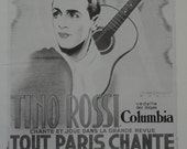 Vintage Poster Art, Paris Cabaret Music Hall Poster, Tino Rossi Singer Guitar, Angel Man,  Printed in USA in 1977