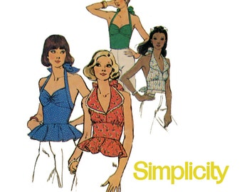1970s Halter Tops Pattern Uncut Simplicity 1365 6357 Fitted Midriff Peplum Tops Shawl Collar Day or Evening Womens Vintage Sewing Pattern