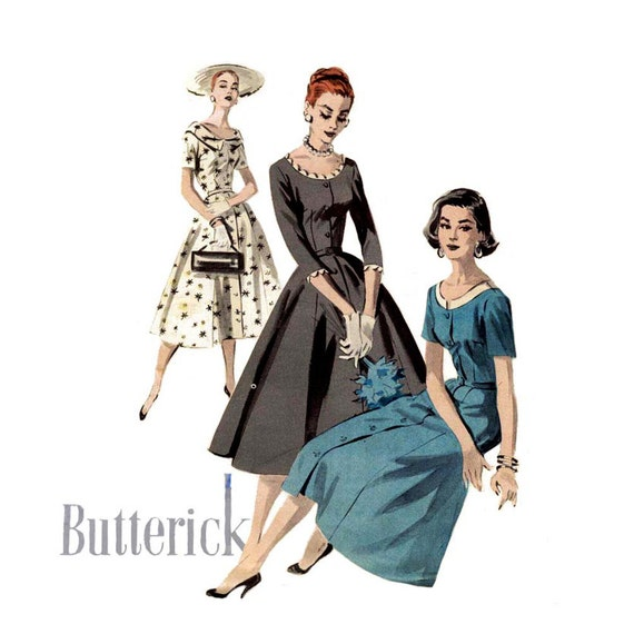 1950s Dress Pattern Butterick 7791 Misses Day or Evening Scoop Neck Flared Skirt Dress Bust 32 Womens Vintage Sewing Pattern