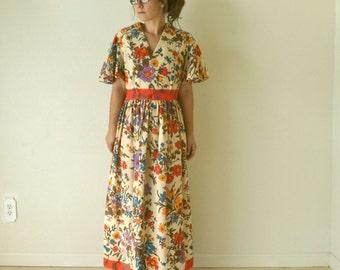Floral Maxi Dress 60s 70s Vintage Flutter Sleeve Beige Coral Alternative Wedding Gown Small Medium