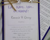 Purple & white Starfish Wedding invitation cards, with metalic silver and purple layers. Info or RSVP card included.