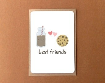Greeting card - Best friends milk and cookies