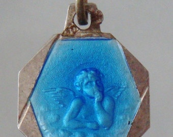 "Blue Enamel & Silver Angel Antique Religious Medal Pendant on 18"" sterling silver rolo chain"