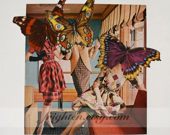 Butterfly Art, One of a Kind Paper Collage, Surreal Art, Mid Century Modern, Colorful Wall Decor, Retro Collage