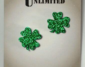 Four Leaf Clover Glitter Lucky Acrylic Post Earrings