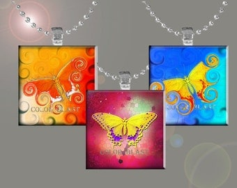 Magical Butterflies- INSTANT DOWNLOAD- 1 x 1 inch for Glass Pendants, Magnets and More.