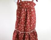 1970s Maroon Floral Mini Dress Sundress Tie Shoulder Womens Small