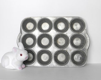 Vintage Muffin Tin, Cast Aluminum Muffin Tin, Chocolate or Soap Mold