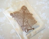 Lavender Sachet with Dragonfly- Old Writing- Keys/ Sepia on Ivory Linen (Gifts under 10 dollars)