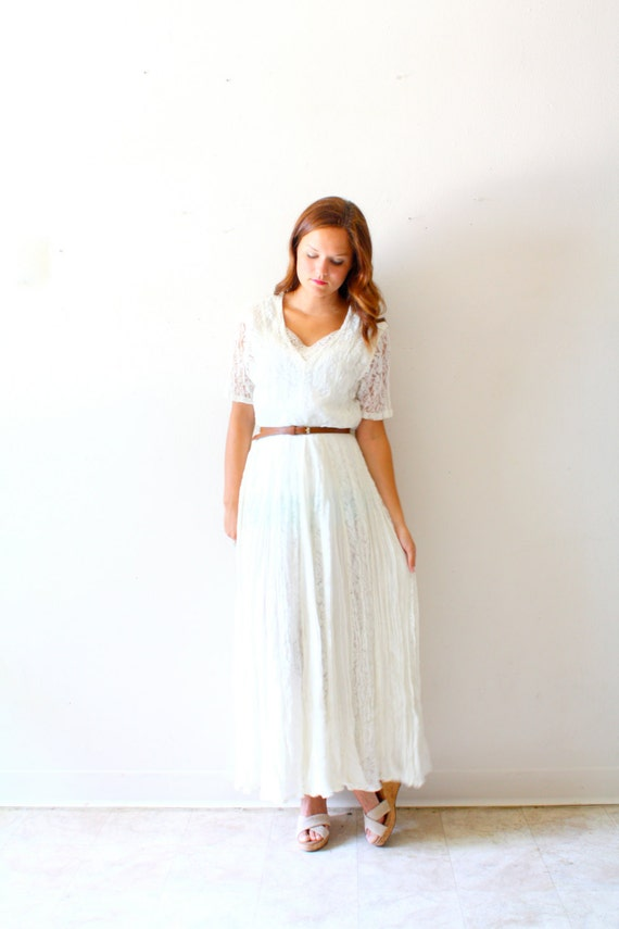 Vintage wedding dress bohemian casual lace for Boho casual wedding dress