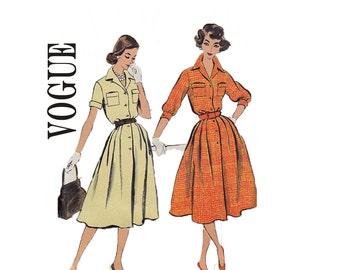1958 Classic Shirtdess Size 14 Bust 34 Hip 36 Rockabilly style full skirt Vogue 9397 dress misses Vintage Dress sewing pattern
