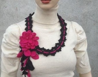 INSTANT DOWNLOAD Crochet Scarf/Necklace with Flower and Leaves- Pattern