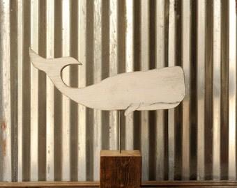 Whale Reclaimed Wood Industrial Art Block Rustic Metal Wooden