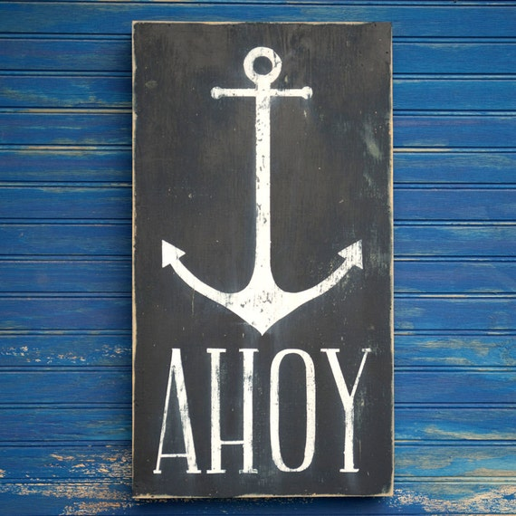 AHOY Anchor Sign Nautical Beach Decor Anchor Box Wall Art Welcome Sign