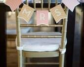 "Peach & Gold Chevron Chair Signs ""MR"" and ""MRS"""