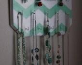 Mint Green Chevron Design Hand Painted Wall Mounted Jewelry Organizer
