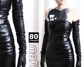 80cm Extreme Long Genuine Leather Runway Fashion Fetish Goth Larp Sleeve Gloves