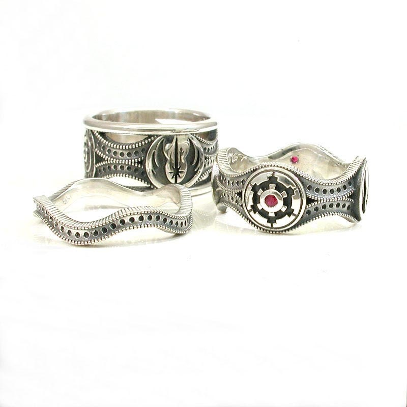 Star wars ring set sterling silver geek engagement rings for Star wars wedding rings