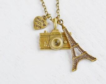 Camera Charm Necklace,Traveler Paris Necklace,I love Paris Charm Necklace,TRavel to Paris,Photographer Camera Long Necklace,Romance Dream