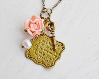 Love Letter Charm Necklace,Gift for Her,Whimsical Rose Flower Pendant,Love Gift,French Style Romantic Love Letter,Pink Rose,Skeleton Key