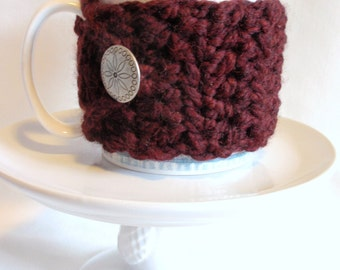 BURGUNDY WINE crocheted Chunky Coffee Cup Cozy / Mug Cozy / Etched Silver Type Button / Gift for Aunt, Friendship, Babysitter, Girlfriend