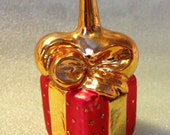 Vintage Christmas Tree Ornament Glass Christmas Present Ornament Red and Gold