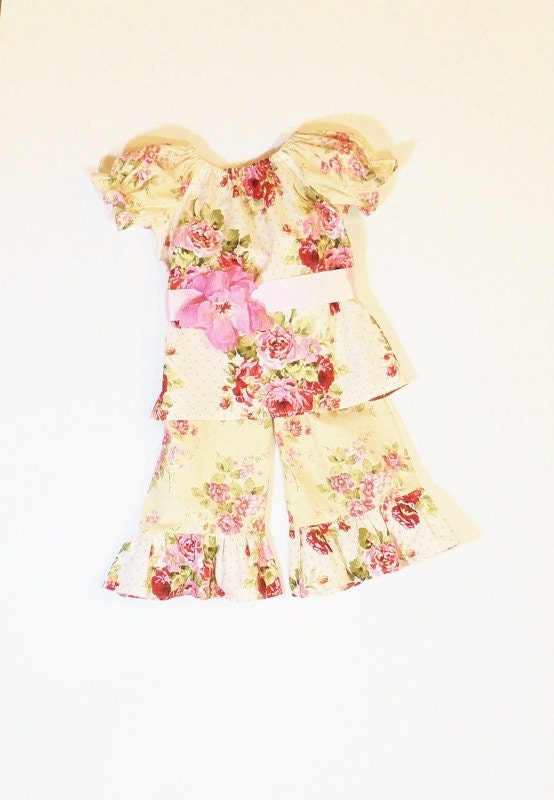 Girls shabby chic ruffle pants or capris outfit size 6mo to 10 - Shabby chic outfit ideas ...