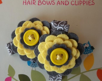 GRAY YELLOW  Wool Felt Flower Hair Clips Clippies Babies Toddlers Girls