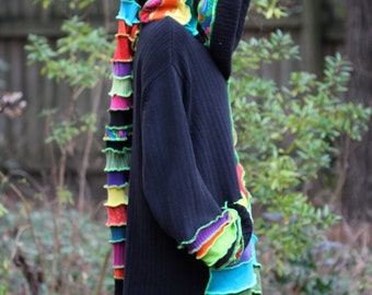 Made to order  UV glow Custom Recycled Sweater Coat Hoodie.  Guy .Unisex Elf  Large Hippie Grateful Dead Furthur