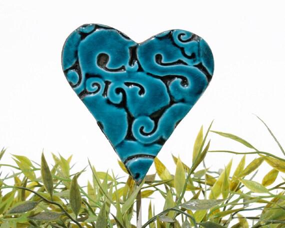 Heart garden art - plant stakes - garden markers - garden decor - heart ornament - ceramic heart - large - teal