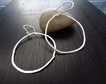 Organic sterling silver hoop earrings, hammered silver earrings, sterling hoop,