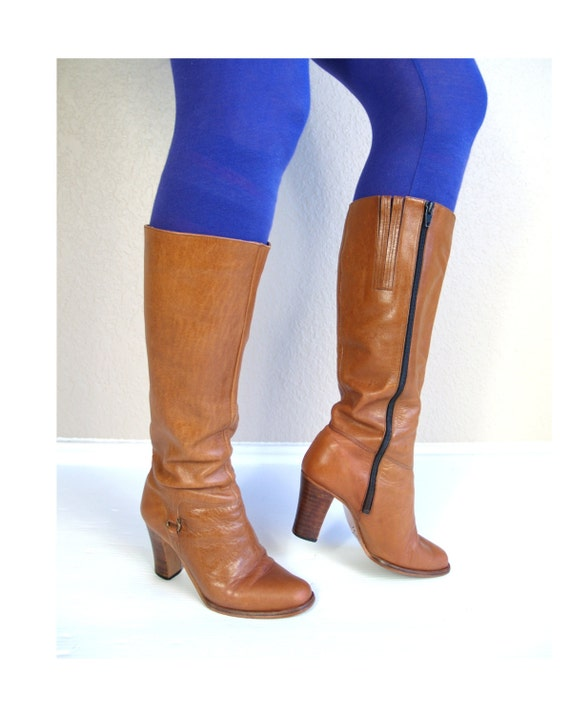vtg 70s caramel leather knee high boots heels 7 by