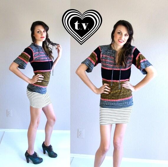 vtg 70s striped SPACE DYE skinny Neck Tie tiny fit hippie SWEATER knit top xs/s boho
