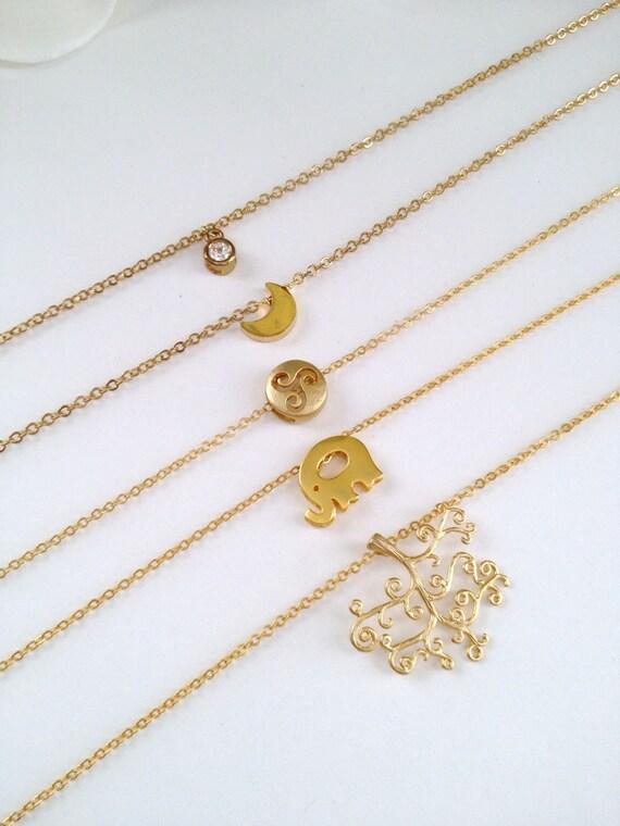 ONE Gold Plated Charm Pendant Necklace (Rhinestone, Half Moon, Swirls, Elephant, Tree)