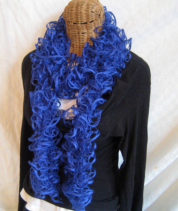 Knitting Bee Free Patterns : Knitted ruffle scarf Royal Blue frilly by frillyscarvesbyliz