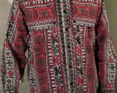 Vintage Western Shirt Indian / 70s Red Aztec Shirt / Red Black Gray Men Shirt /  Yoke Shirt