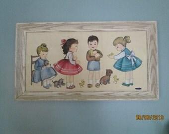 Mid Century Painting / Vintage  Painting / Nursery Artwork / 60s Painting
