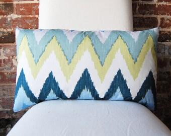 Adras Ikat- Sky - Schumacher - Pillow Cover - 14 x 24 lumbar - Designer Pillow - Decorative Pillow - Throw Pillow