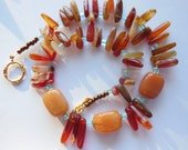 Agate Fire red and orange on blue necklace 462
