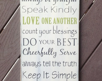 "NEW ""Family First"" Family Rules / Values Typography Art Sign- Distressed - Hand Painted"