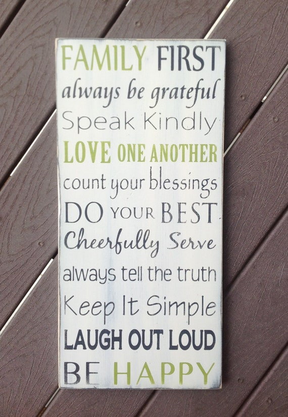 """NEW """"Family First"""" Family Rules / Values Typography Art Sign- Distressed - Hand Painted"""