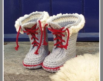 Kids Winter Boot-Slippers with Fur and Laces - Crochet Pattern - Instant Download Pdf